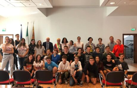 Gruppo studenti italo-tedeschi in Sala Civica a Montecchio, edizione 2018